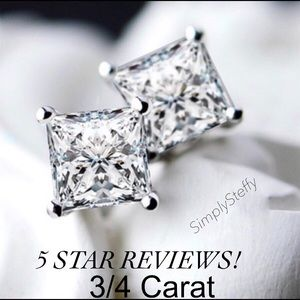 Jewelry - 🌺 3/4 Carat SS Princess Cut Earrings